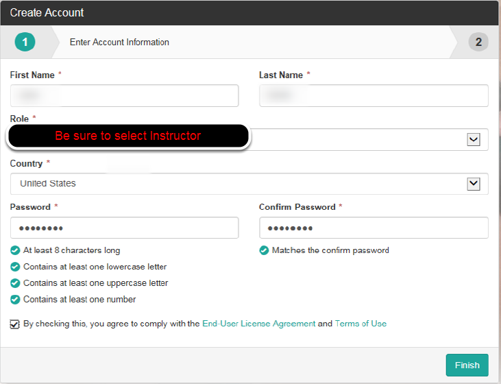Enter all Required Fields as noted by the asterisks and click Finish