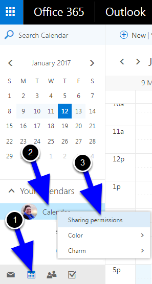 """Click into your calendar view and then right-click your calendar and select """"Sharing Permissions"""" with a left-click."""