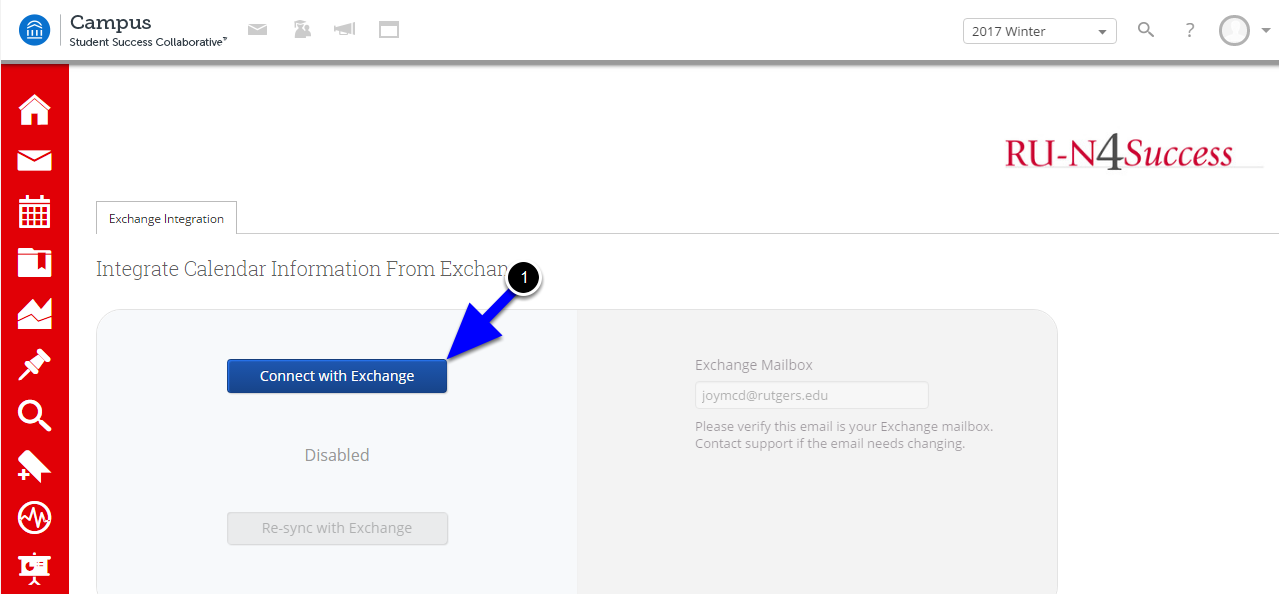 """Click on the """"Connect with Exchange"""" button. Synchronization can take up to 10 minutes to complete on initial setup."""