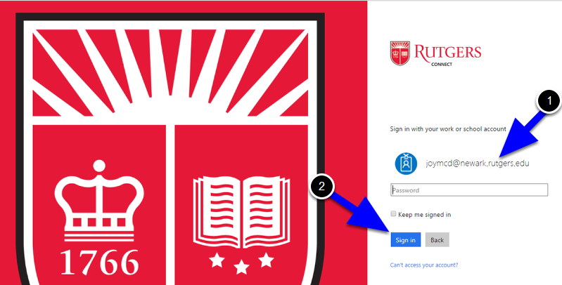 Navigate to http://connect.rutgers.edu and login with your account which should be of the format NetID@domain.rutgers.edu (e.g. joymcd@newark.rutgers.edu).