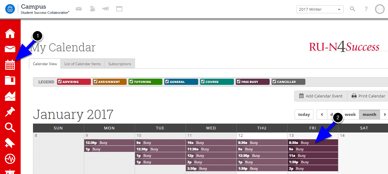 To confirm synchronization with existing Connect calendar events, click on the Calendar tool and view the Free/Busy events in purple.