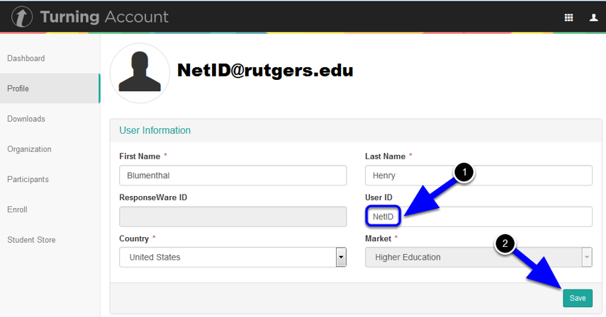 Enter your Rutgers NetID in the User ID field and click Save.