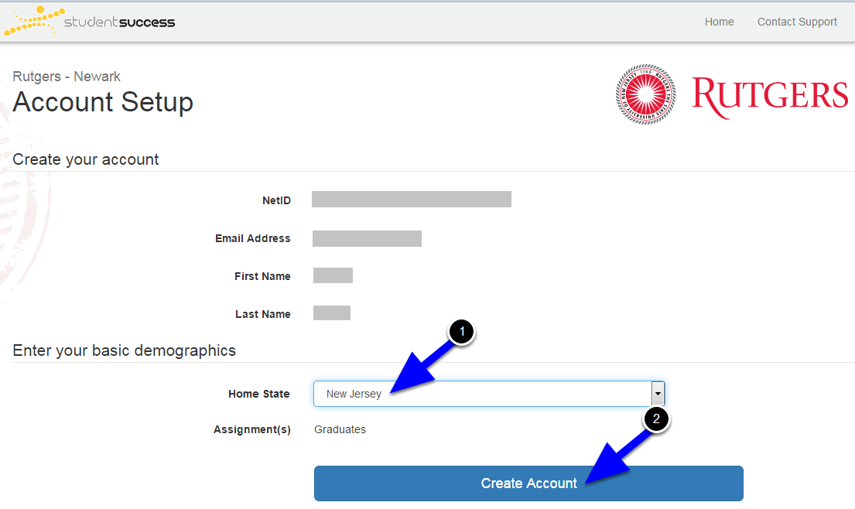 A new window will open, prompting you to select your Home State and click the Create Account button.