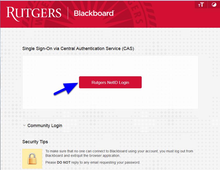 Login at http://blackboard.rutgers.edu by clicking the Rutgers NetID Login button.