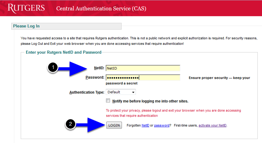 Enter your Rutgers NetID and password and then click the Login button.