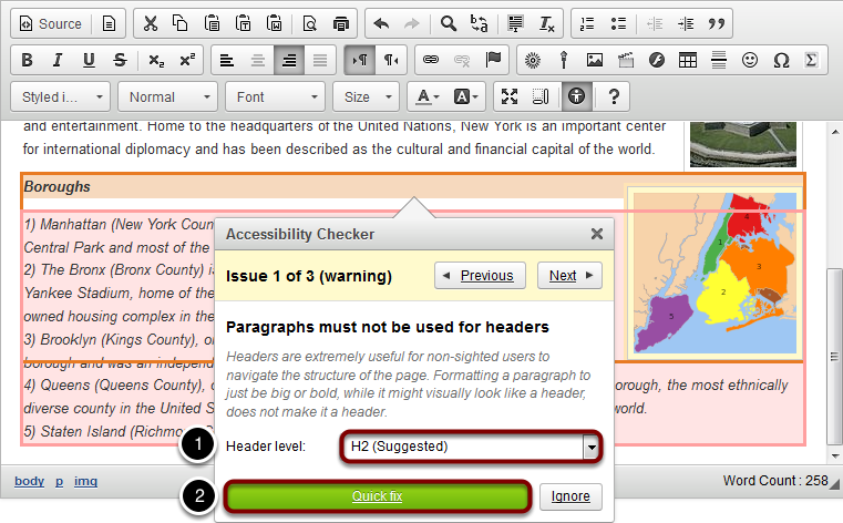Quick fix option for paragraph formatting