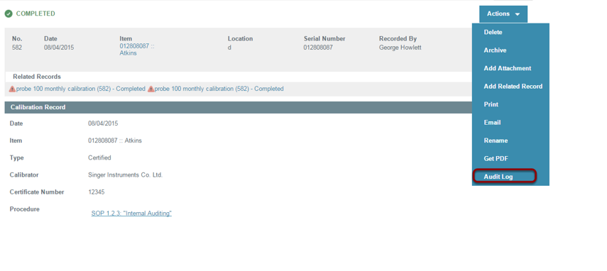 Select Record to access Audit Log