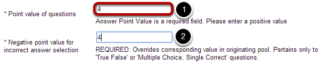 "If ""random draw from question pool"" is selected, select a point value of questions."