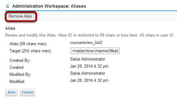 Click Remove Alias.