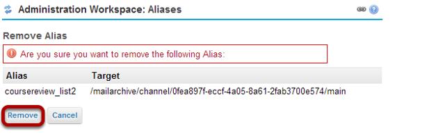 Confirm alias removal.