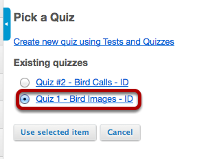 Select the assessment from the list of existing quizzes.