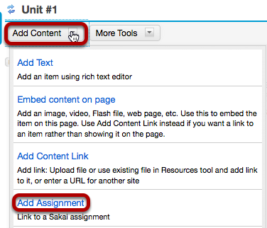 Click Add Content, then Add Assignment.
