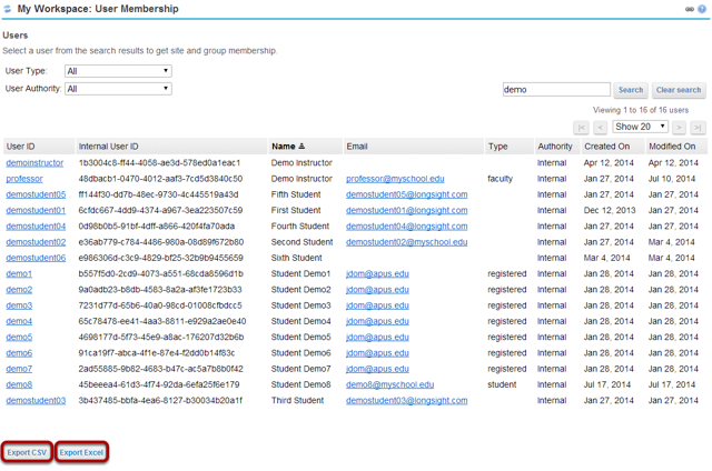 Click Export CSV or Export Excel.