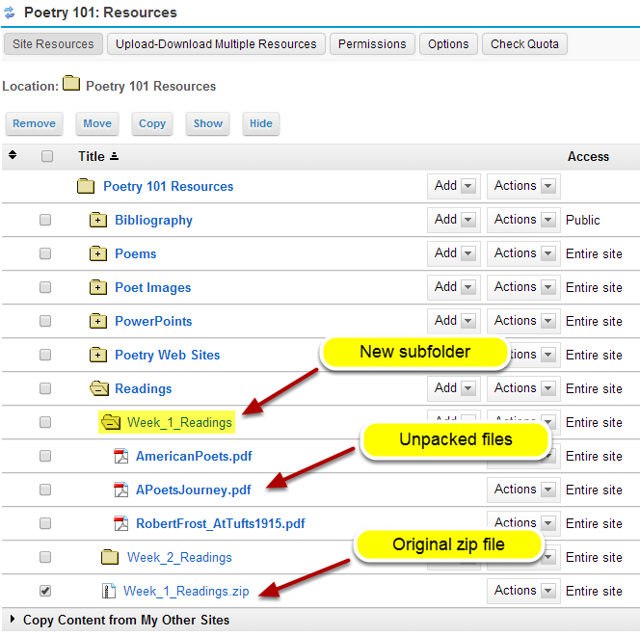 View zip contents in Resources.