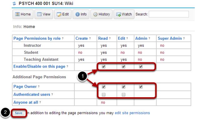 Edit page level permissions.