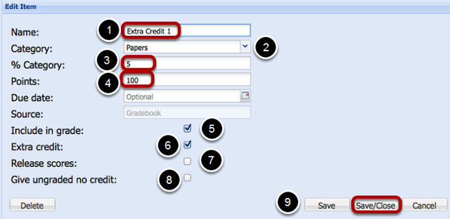 (Weighted Category gradebook - Scoring by Letter Grade) - Enter Extra Credit Item Information, then click Add/Close