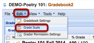Click Edit > Grade Scale.