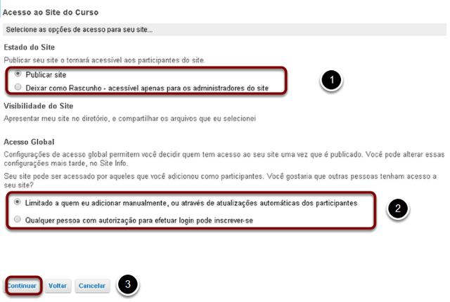 Configurar o acesso ao site.