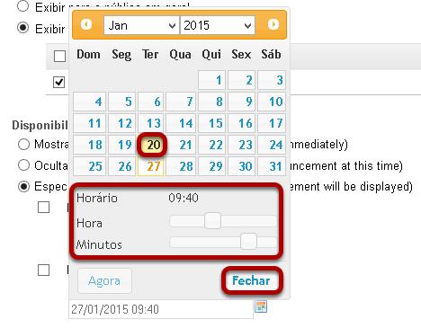 Usar o ícone de calendário para inserir data e hora.