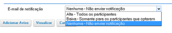 Notificar os participantes do aviso por e-mail. (Opcional)