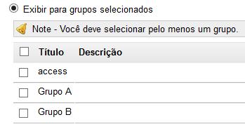 Grupos selecionados. (Opcional)