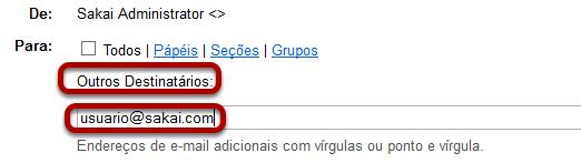 Digitar o endereço de E-mail para usuários não matriculados.
