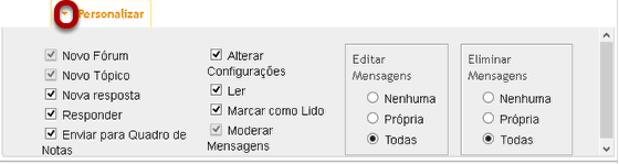 Personalizar as configurações.