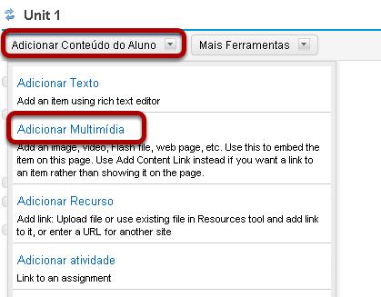 Carregamento de arquivo: Clique em Adicionar Conteúdo, então clicar em Adicionar Multimídia na página.