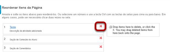 Clicar no ícone vermelho X localizado à direita do item.
