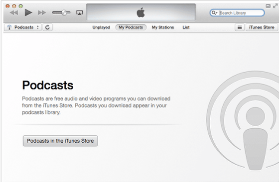 Abra o aplicativo de podcatcher preferido (por exemplo, iTunes).