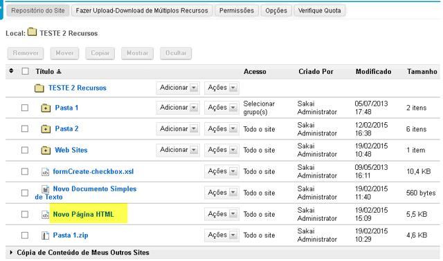 Visualizar página HTML em Repositório.