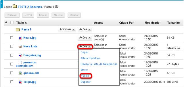 Método 2: Clicar em Ações e, em seguida, clicar em Excluir.