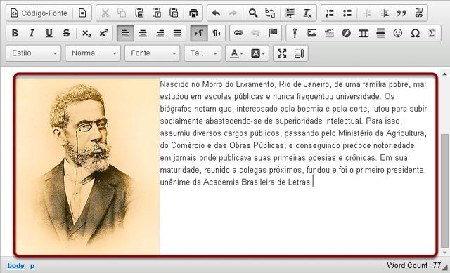 Exemplo de texto adicional exibido ao lado de uma imagem alinhada à esquerda.