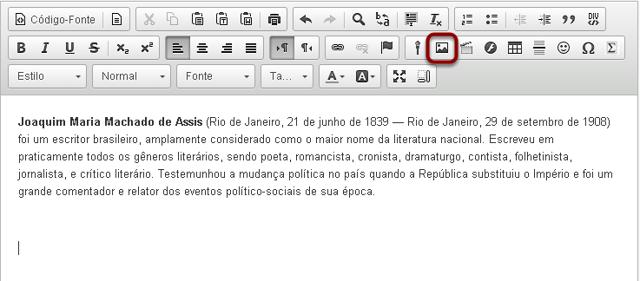 Clicar no ícone Inserir/Editar Imagem.