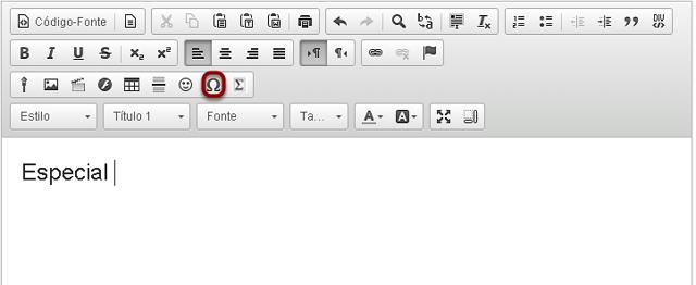 Clicar no ícone  Inserir Caracteres Especiais.