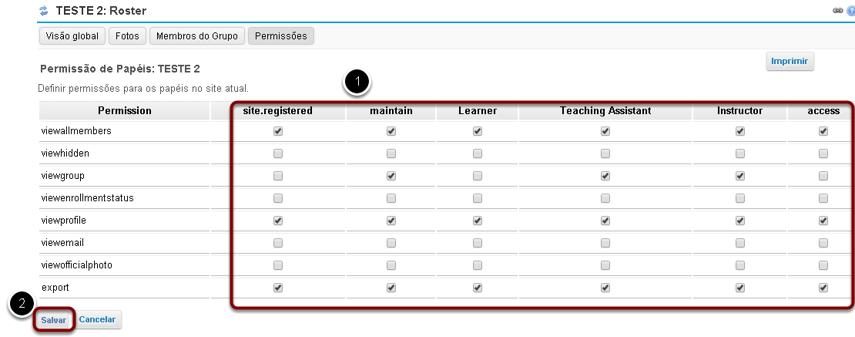 Modificar as permissões para os papéis listados.
