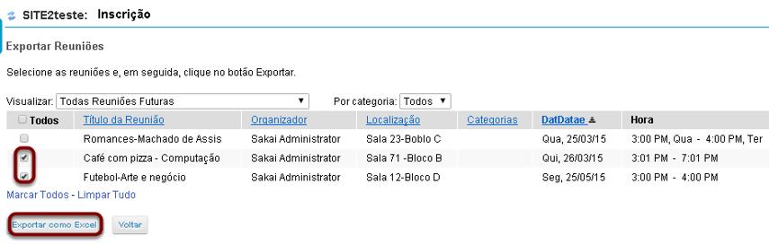 Selecionar as reuniões desejadas e clicar em Exportar como Excel.