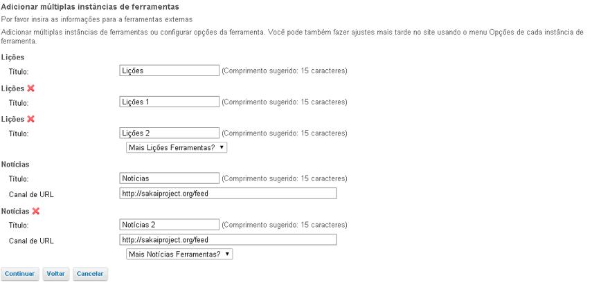 Exemplo: Várias instâncias da ferramenta.