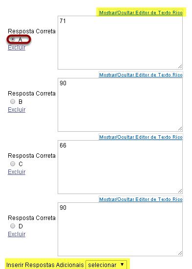 Digite as opções de resposta (para múltipla escolha).