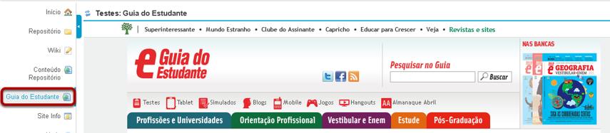 Exemplo do link de Conteúdo Web para um website.