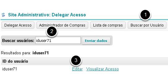 Busque e selecione um usuário.