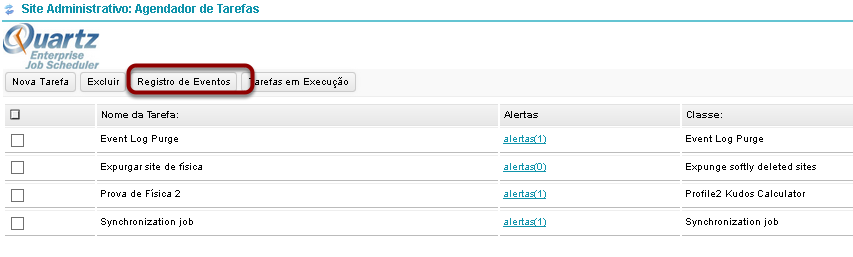 Clique em Registro de Eventos para visualizar a log.