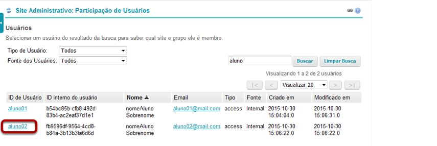 Clique no ID de usuário para o usuário em questão.
