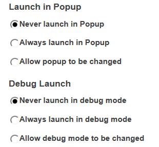 Popup/debug