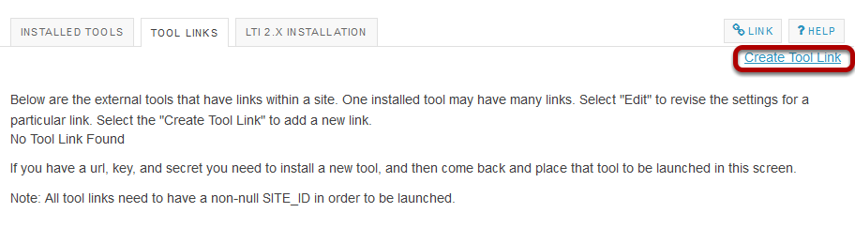 Click the Create Tool Link.