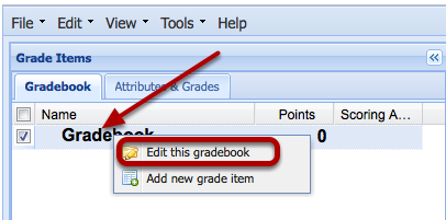 Or, right-click the word Gradebook and select Edit this Gradebook.
