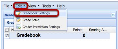 Click Edit > Gradebook Settings.