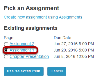 Select the assignment from the list of existing assignments.