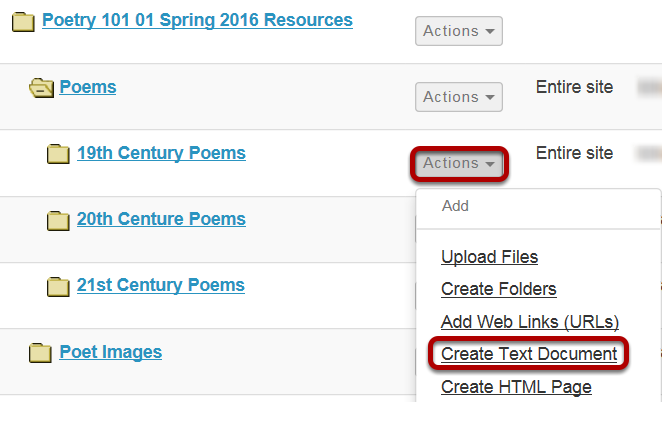 Click Actions, then Create Text Document.