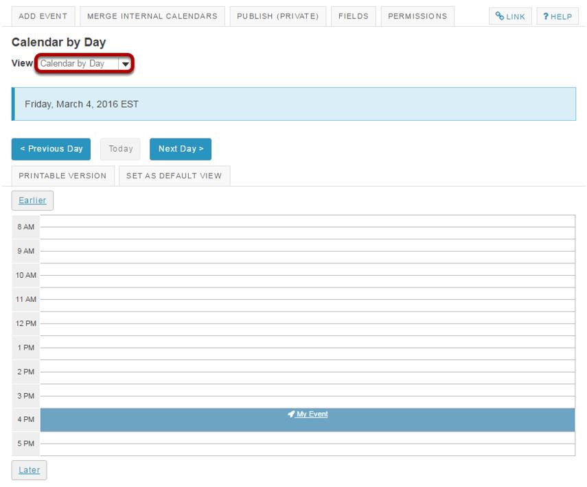 Calendar by day.